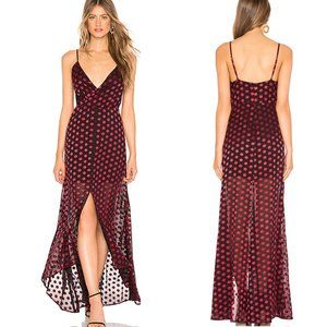Lovers + Friends Angel Gown Red Black Polka Dot